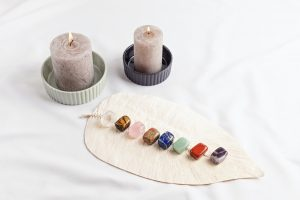 Healing reiki chakra crystals. Gemstones for wellbeing, harmony, meditation, relaxation